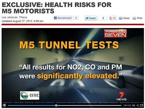 M5 tunnel air quality results conducted by CETEC